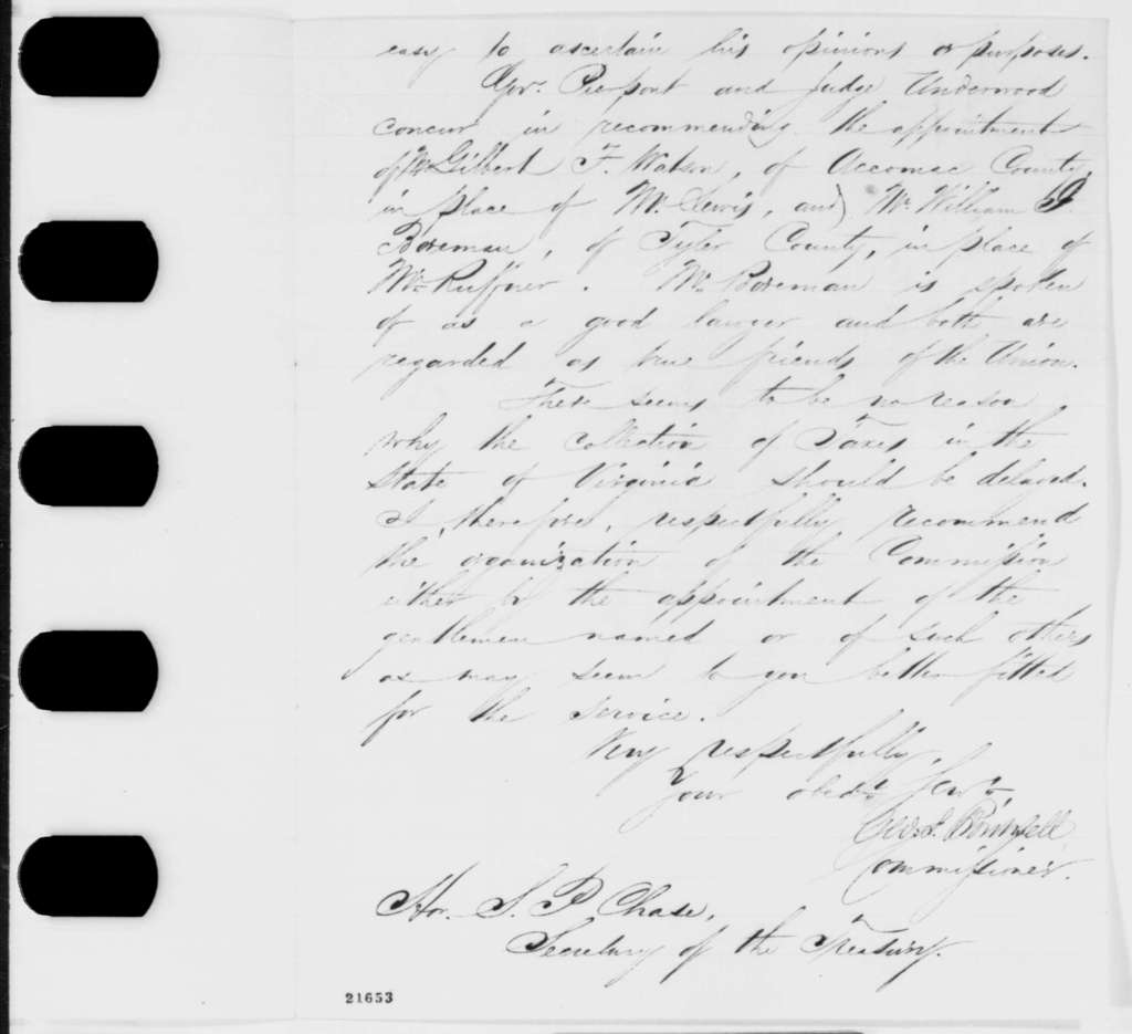 George S. Boutwell to Salmon P. Chase, Wednesday, February 11, 1863  (Collection of taxes in Virginia; with endorsement)
