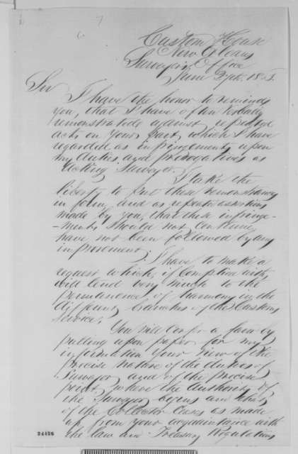 George S. Denison to Cuthbert Bullitt, Saturday, June 27, 1863  (New Orleans customs house)