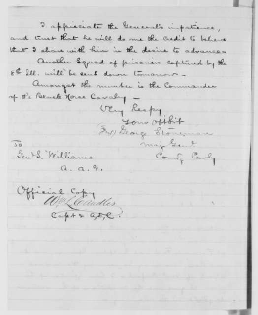 George Stoneman to Seth Williams, Sunday, April 19, 1863  (Progress of his troops; includes John Buford to Alexander, April 19, 1863)