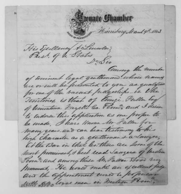 George Van Eman Lawrence to Abraham Lincoln, Monday, March 09, 1863  (Recommendation; endorsed by John Covode)