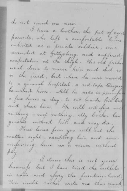 George W. Demers to Abraham Lincoln, Friday, August 14, 1863  (Requests permission for his father to visit his wounded brother)