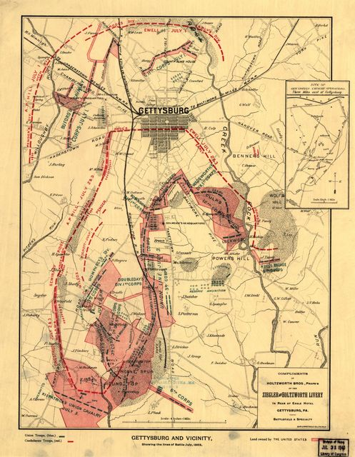 Gettysburg and vicinity, showing the lines of battle, July, 1863.