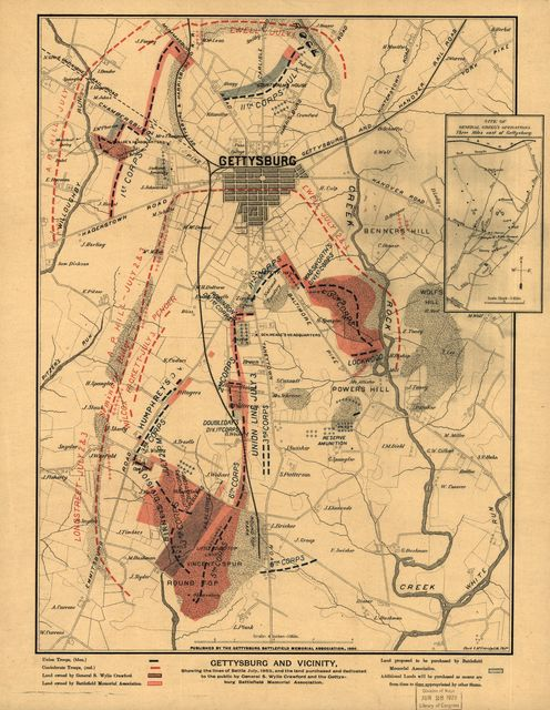 Gettysburg and vicinity, showing the lines of battle July, 1863, and the land purchased and dedicated to the public by General S. Wylie Crawford and the Gettysburg Battlefield Memorial Association
