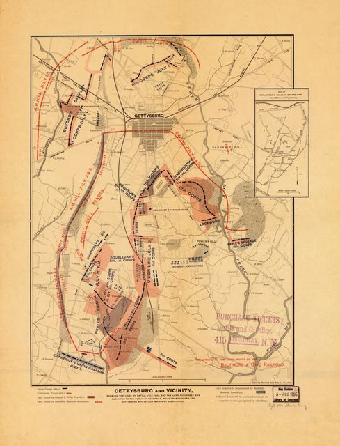 Gettysburg and vicinity : showing the lines of battle, July, 1863, and the land purchased and dedicated to the public by General S. Wylie Crawford and the Gettysburg Battlefield Memorial Association /