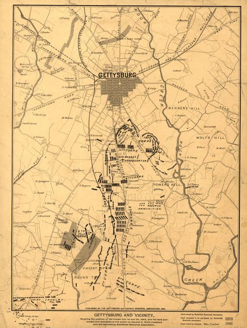 Gettysburg and vicinity, showing the position of the troops July 1st and 3rd, 1863, and the land purchased and dedicated to the public by General S. Wylie Crawford and the Gettysburg Battlefield Memorial Association.