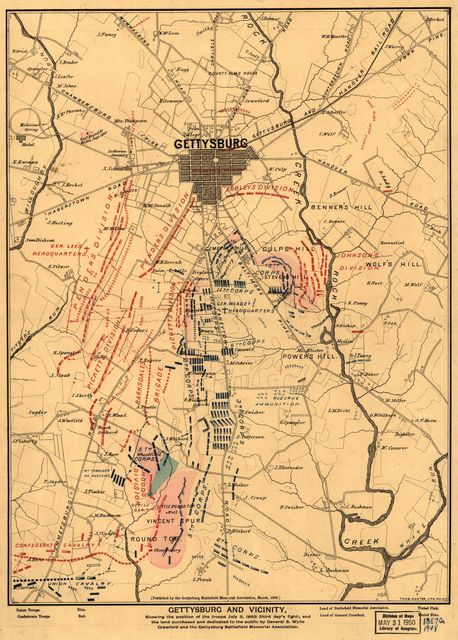 Gettysburg and vicinity, showing the position of the troops July 3, 1863 (third day's fight), and the land purchased and dedicated to the public by General S. Wylie Crawford and the Gettysburg Battlefield Memorial Association