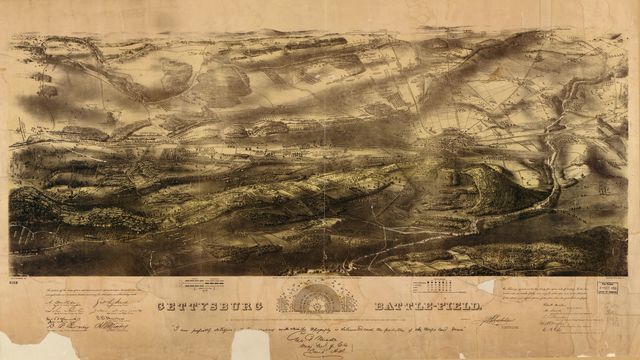 Gettysburg battle-field. Battle fought at Gettysburg, Pa., July 1st, 2d & 3d, 1863 by the Federal and Confederate armies, commanded respectively by Genl. G. G. Meade and Genl. Robert E. Lee /
