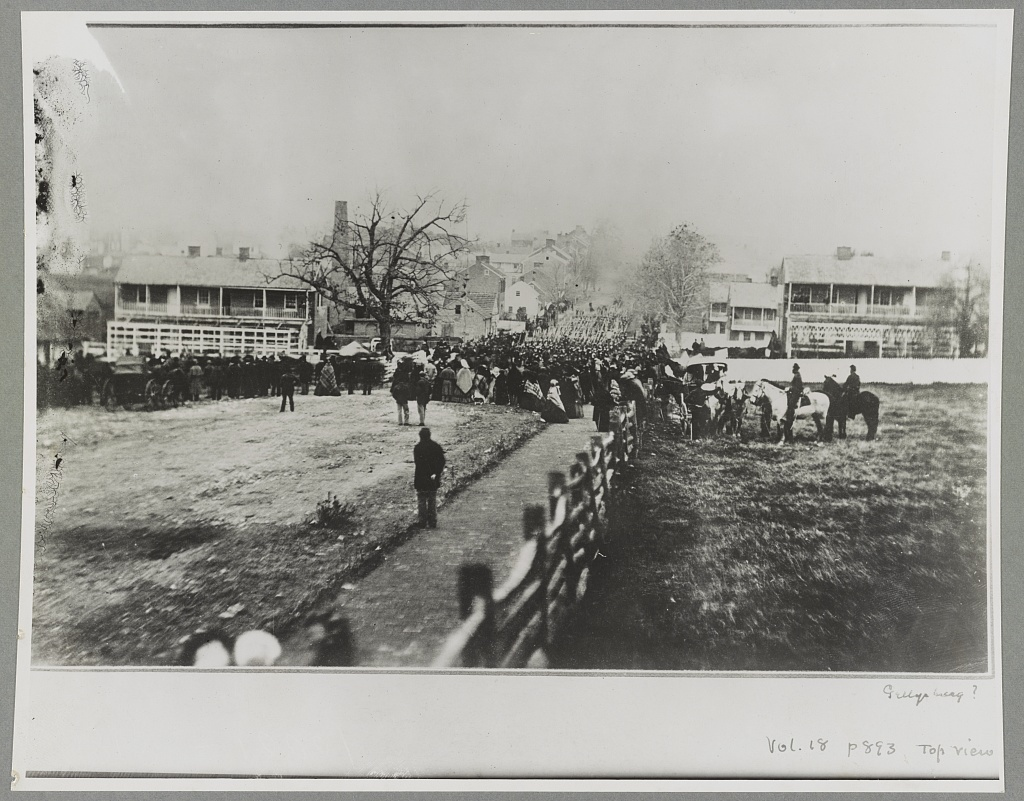 Gettysburg, Pa. Nov. 19, 1863. Crowd and marching troops on way to cemetery