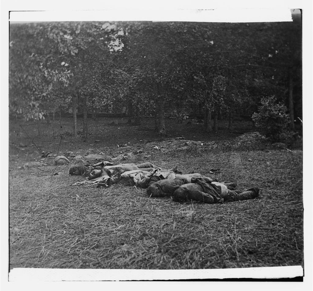 Gettysburg, Pennsylvania. [Confederate dead, view at the edge of the Rose woods, July 5, 1863]