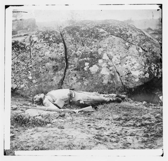 Gettysburg, Pennsylvania. Confederate sharpshooter killed by a shell