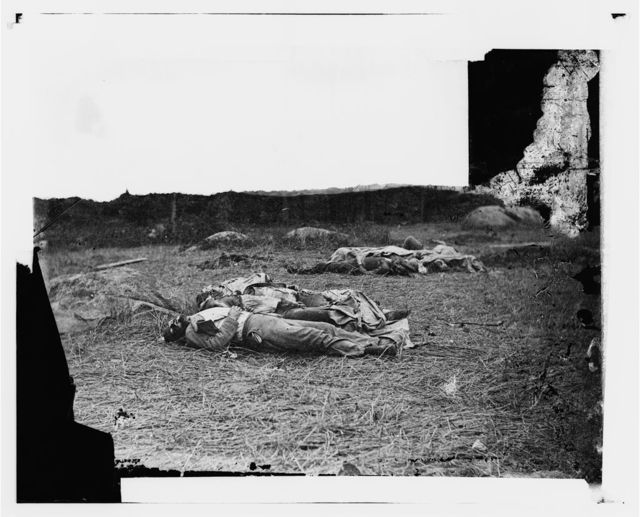 Gettysburg, Pennsylvania. Confederate soldiers as they fell near the center of the battlefield