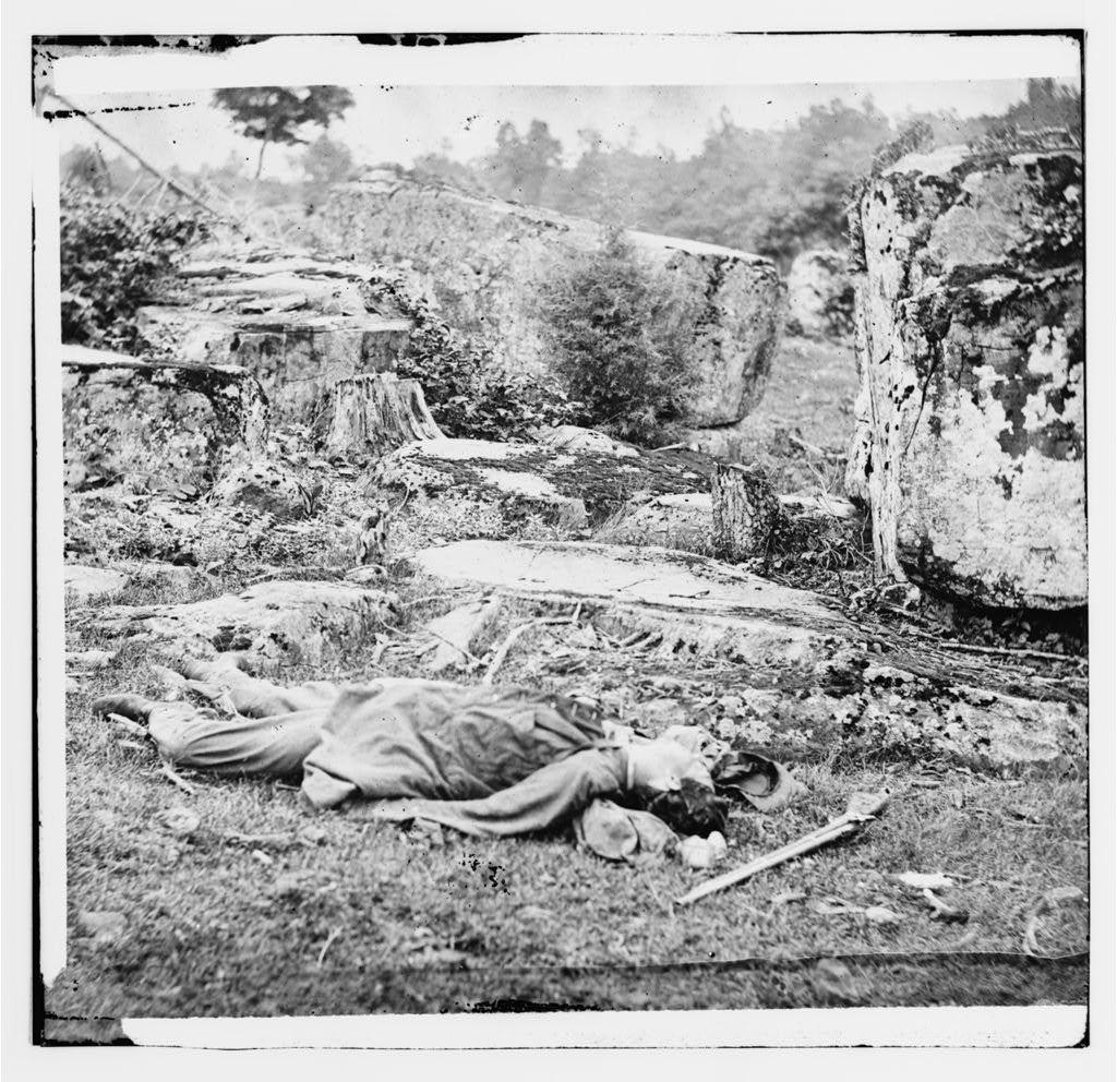 Gettysburg, Pennsylvania. Dead Confederate sharpshooter