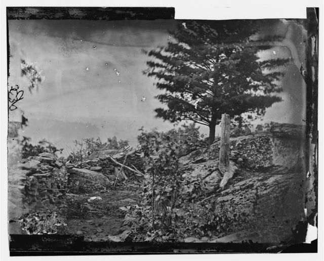Gettysburg, Pennsylvania. Line of breastworks on Round Top