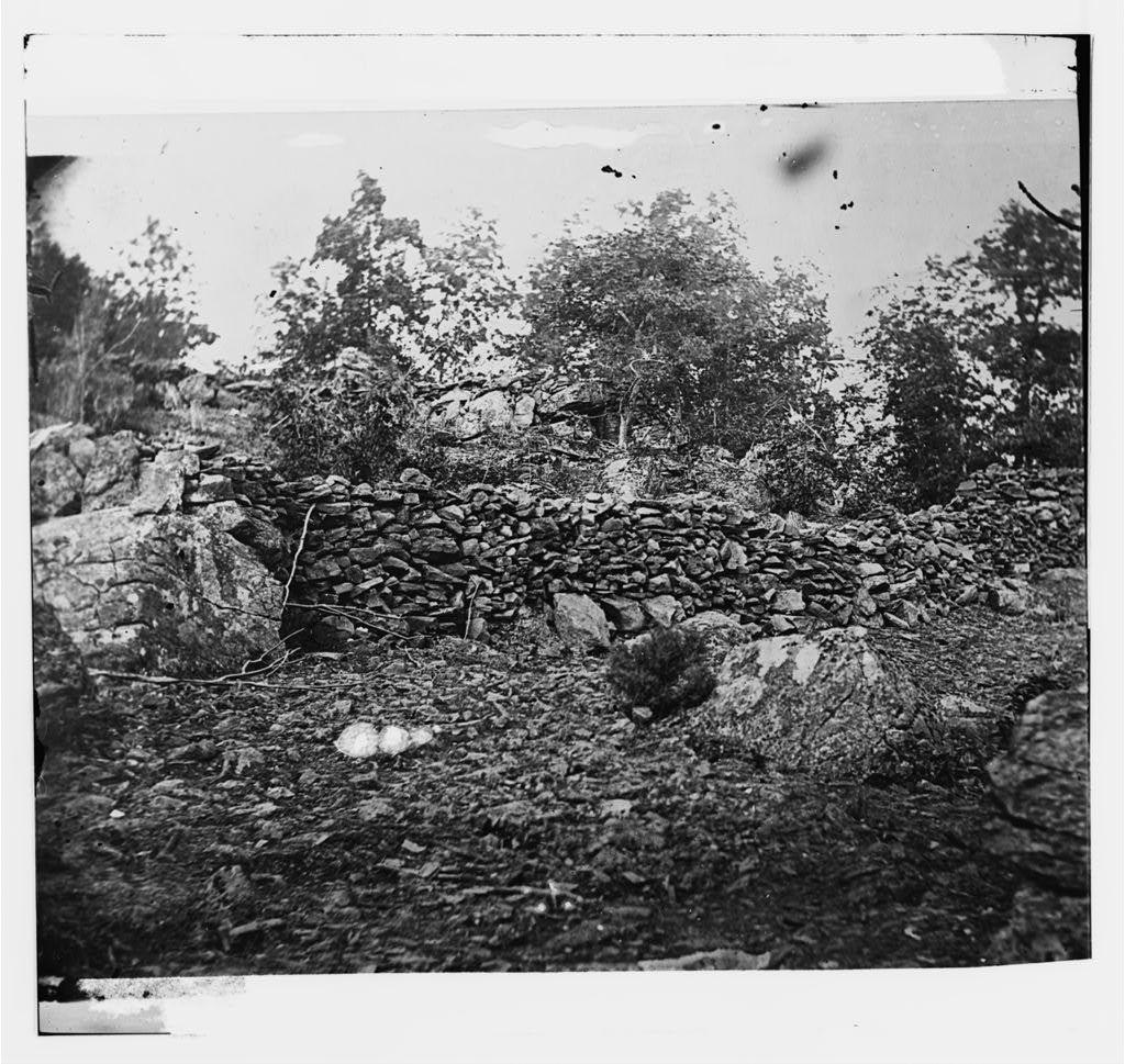 Gettysburg, Pennsylvania. View of breast works on Round Top