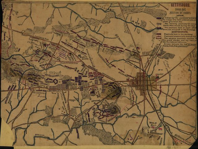 Gettysburg Third day. Position of troops.