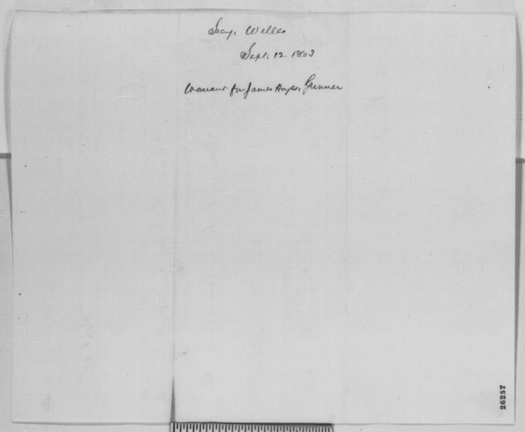Gideon Welles to Abraham Lincoln, Saturday, September 12, 1863  (Sends warrant)