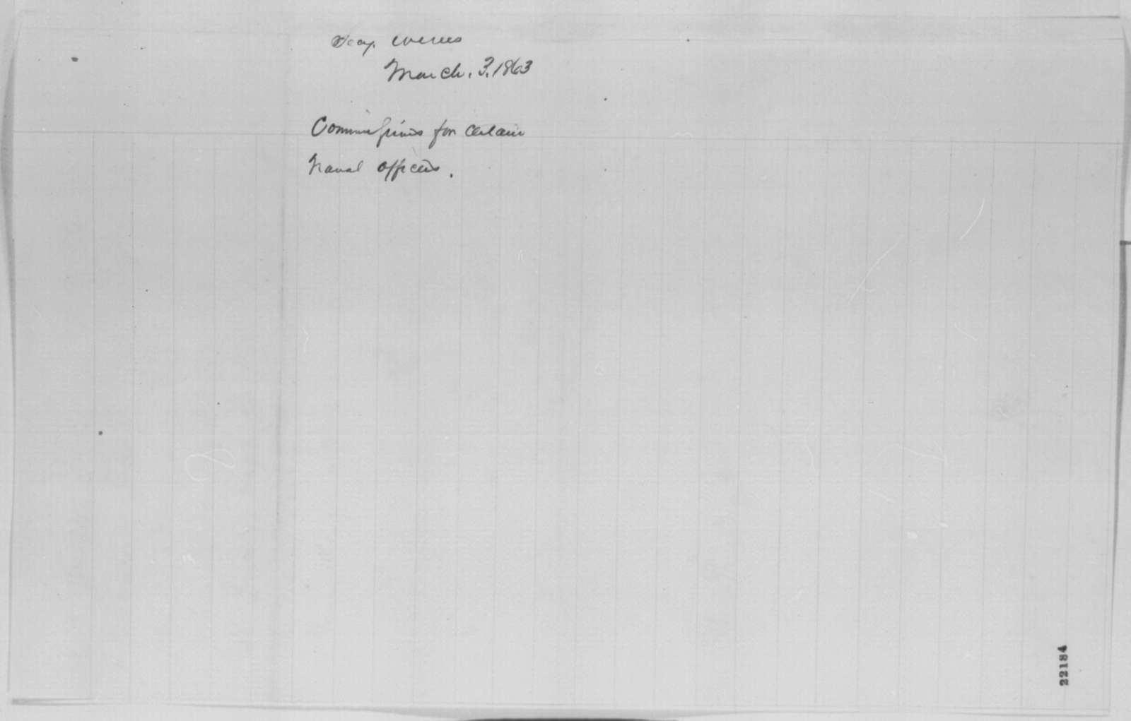 Gideon Welles to Abraham Lincoln, Tuesday, March 03, 1863  (Sends commissions)