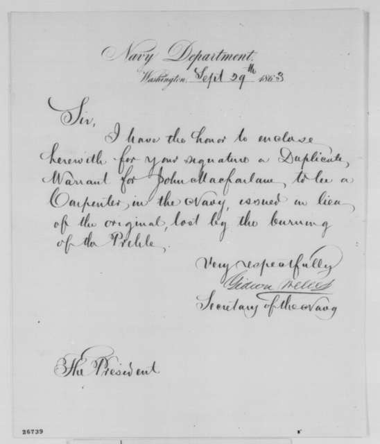 Gideon Welles to Abraham Lincoln, Tuesday, September 29, 1863  (Sends warrant)