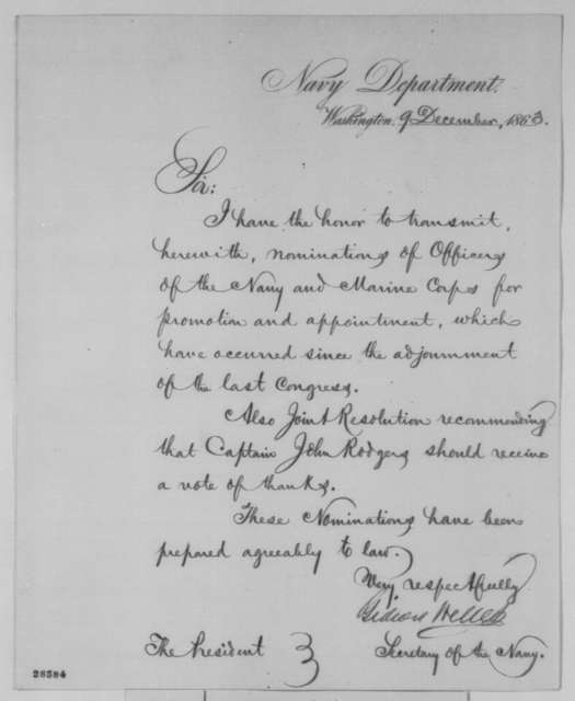 Gideon Welles to Abraham Lincoln, Wednesday, December 09, 1863  (Sends nominations)