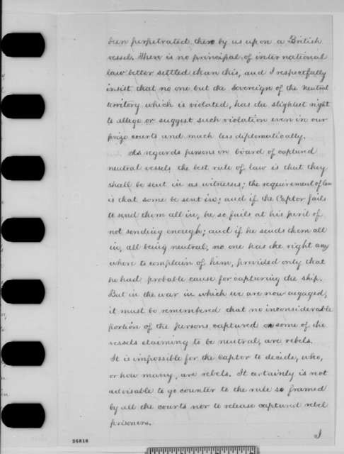 Gideon Welles to Abraham Lincoln, Wednesday, September 30, 1863  (Neutral vessels and relations with Britain)