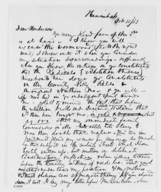 Gilchrist Porter to John B. Henderson, Wednesday, February 11, 1863  (Missouri slave holder alarmed by Emancipation Proclamation)