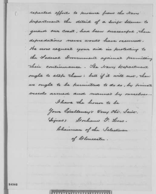 Gorham P. Low to John A. Andrew, Wednesday, June 24, 1863  (Depredations committed by Confederates off coast of Massachusetts)