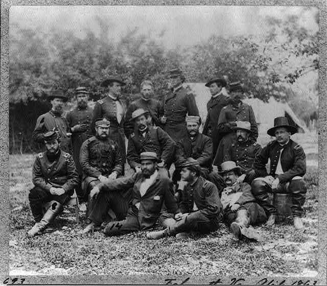 Group at Headquarters of Army of Potomac, Falmouth, Va.: J.S. Crocker, Ulris Dahlgren, B.C. Ludlow, A.N. Duffie, E.R. Warner, Lord Abinger, J. Dickinson, S.F. Barstow, J.B. Howard, D.W. Flagler, Harry Russell, J.R. Coxe and 4 unidentified men.