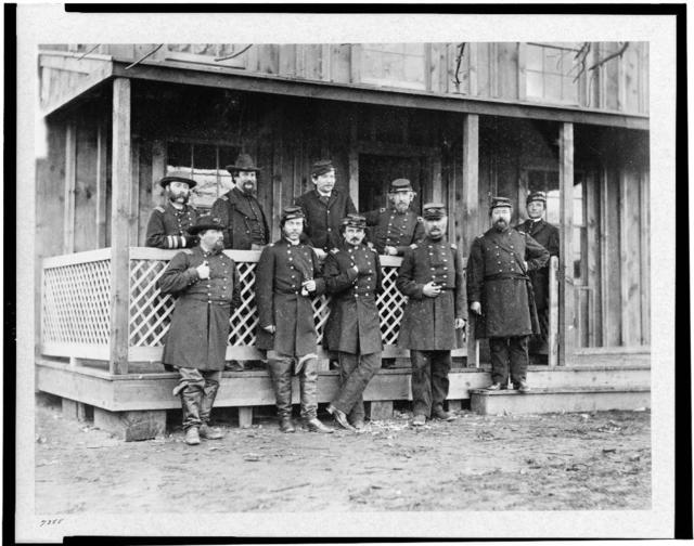 Group of officers at Acquia Creek, February, 1863