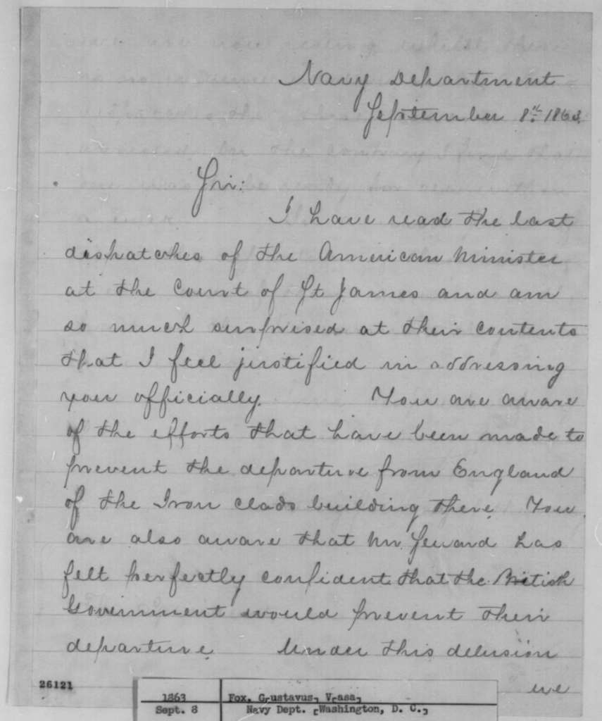 Gustavus V. Fox to Abraham Lincoln, Tuesday, September 08, 1863  (Construction of ironclads in Britain for the Confederacy)