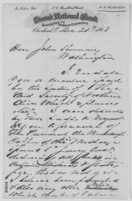 H. B. Hurlbut to John Sherman, Monday, December 21, 1863  (Request for manuscript copy of Emancipation Proclamation; endorsed by James A. Hardie)