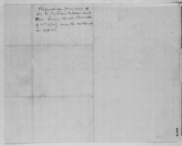 H. D. Robertson and Chauncey M. Depew to Abraham Lincoln, Monday, January 26, 1863  (Appointment of Abram Hyatt)