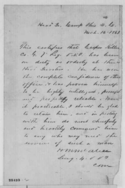 H. M. McAliss, Monday, March 16, 1863  (Recommendation for Casper Keller)