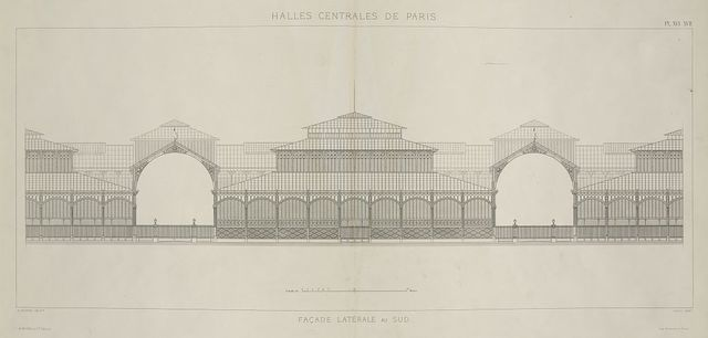 Halles centrales de Paris - façade latérale au sud / V. Baltard, archte ; Dulos, gravr.