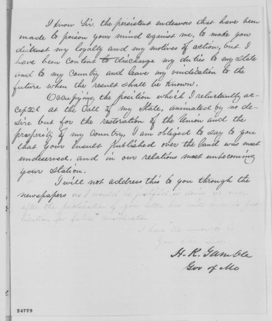 Hamilton R. Gamble to Abraham Lincoln, Monday, July 13, 1863  (Complains about Lincoln's May 27 letter to General Schofield)