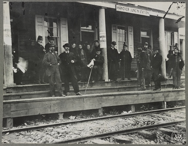 Hanover Junction, Pennsylvania, 1863, Hanover Junction station. Detail of crowd waiting on platform