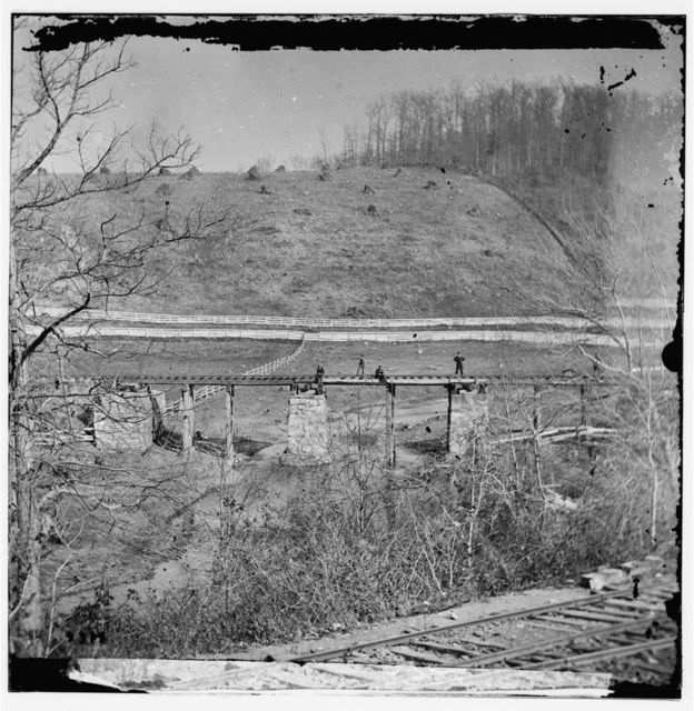 Hanover Junction, Pennsylvania. Bridge at Hanover Junction burned by Confederates before the battle of Gettysburg