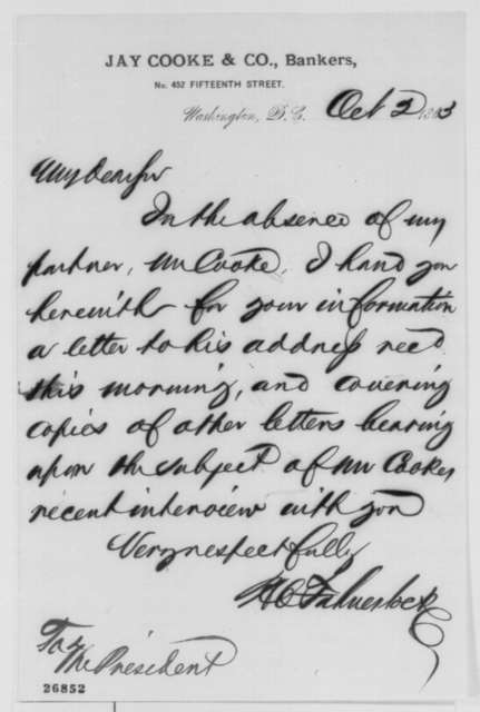 Harris C. Fahnestock to Abraham Lincoln, Friday, October 02, 1863  (Cover letter)