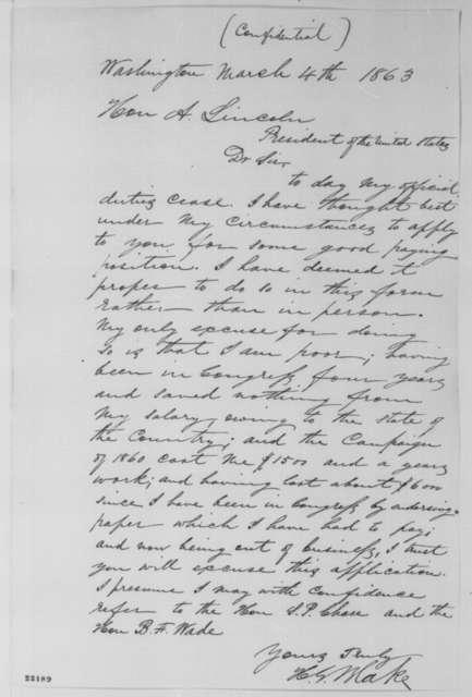 Harrison Gray Otis Blake to Abraham Lincoln, Wednesday, March 04, 1863  (Seeks office)