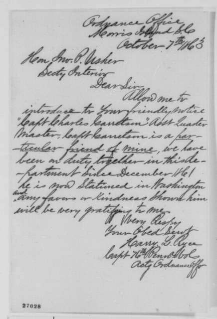 Harry L. Ryce to John P. Usher, Wednesday, October 07, 1863  (Introduces Charles Garretson)