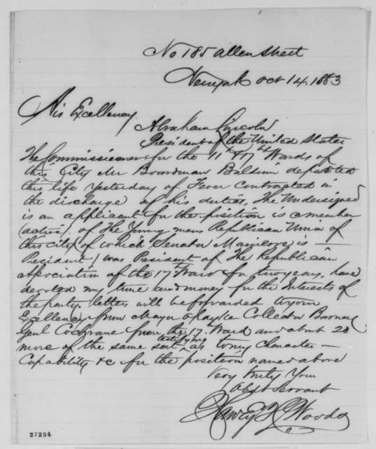 Harvey H. Woods to Abraham Lincoln, Wednesday, October 14, 1863  (Seeks office)