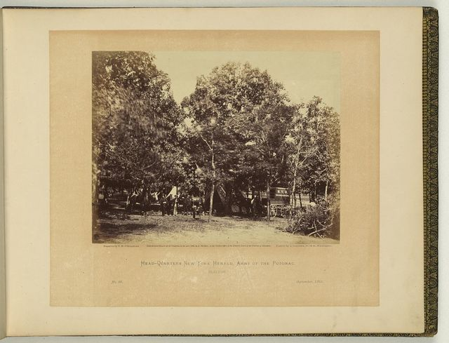 Headquarters, New York Herald, Army of the Potomac, Bealton / negative by T.H. O'Sullivan, positive by A. Gardner.