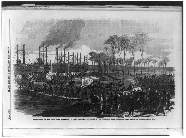 Headquarters of the Union Army commanded by Gen. Grant, on the banks of the Mississippi, near Vicksburg [steamboats in backgrd.]