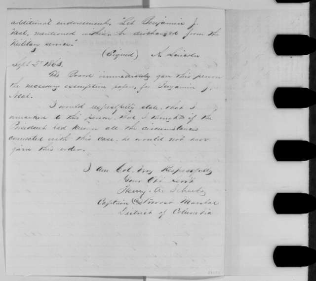 Henry A. Scheetz to James B. Fry, Tuesday, September 08, 1863  (Case of Benjamin J. Neal; endorsed by Fry)