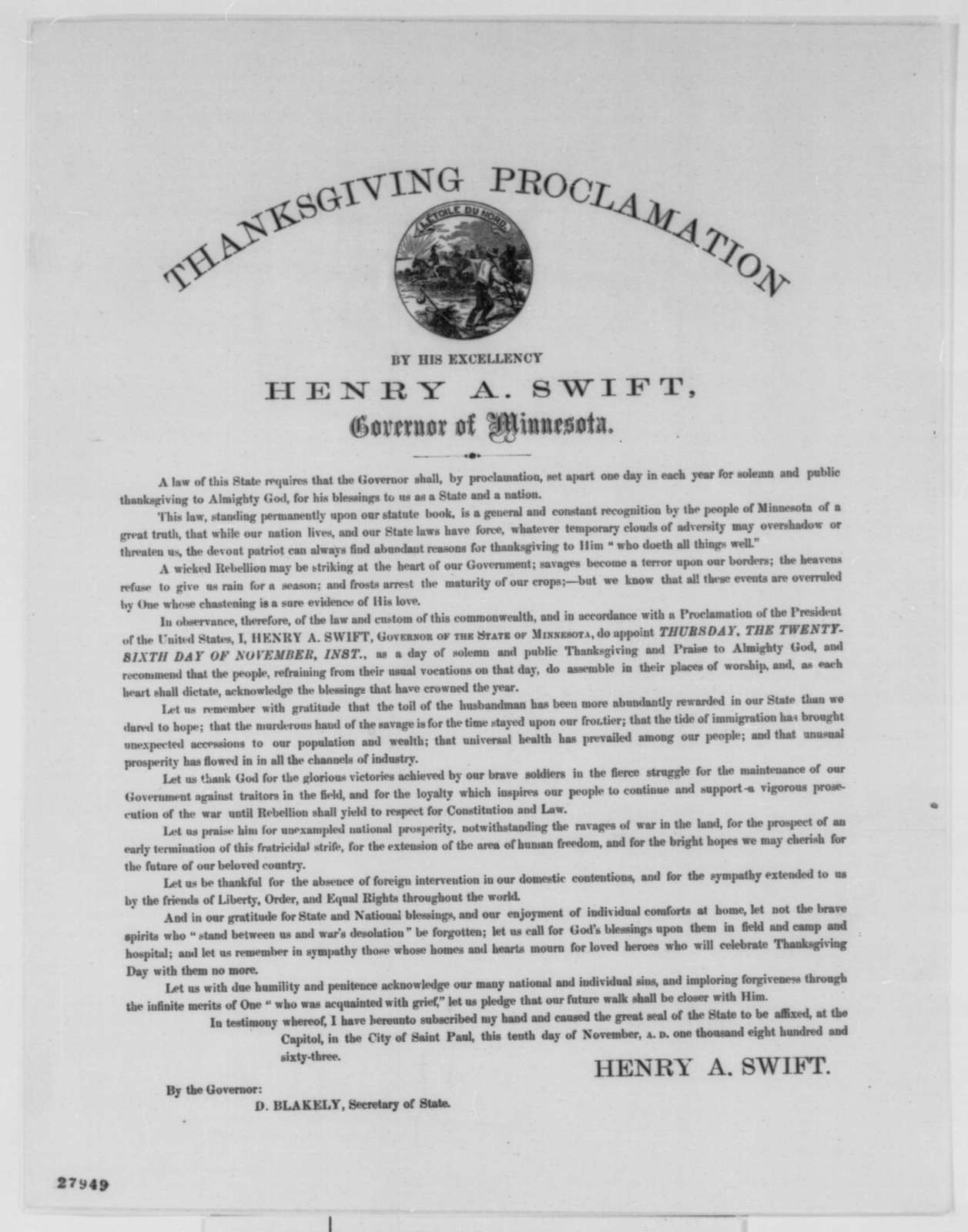 Henry A. Swift, Tuesday, November 10, 1863  (Printed proclamation)
