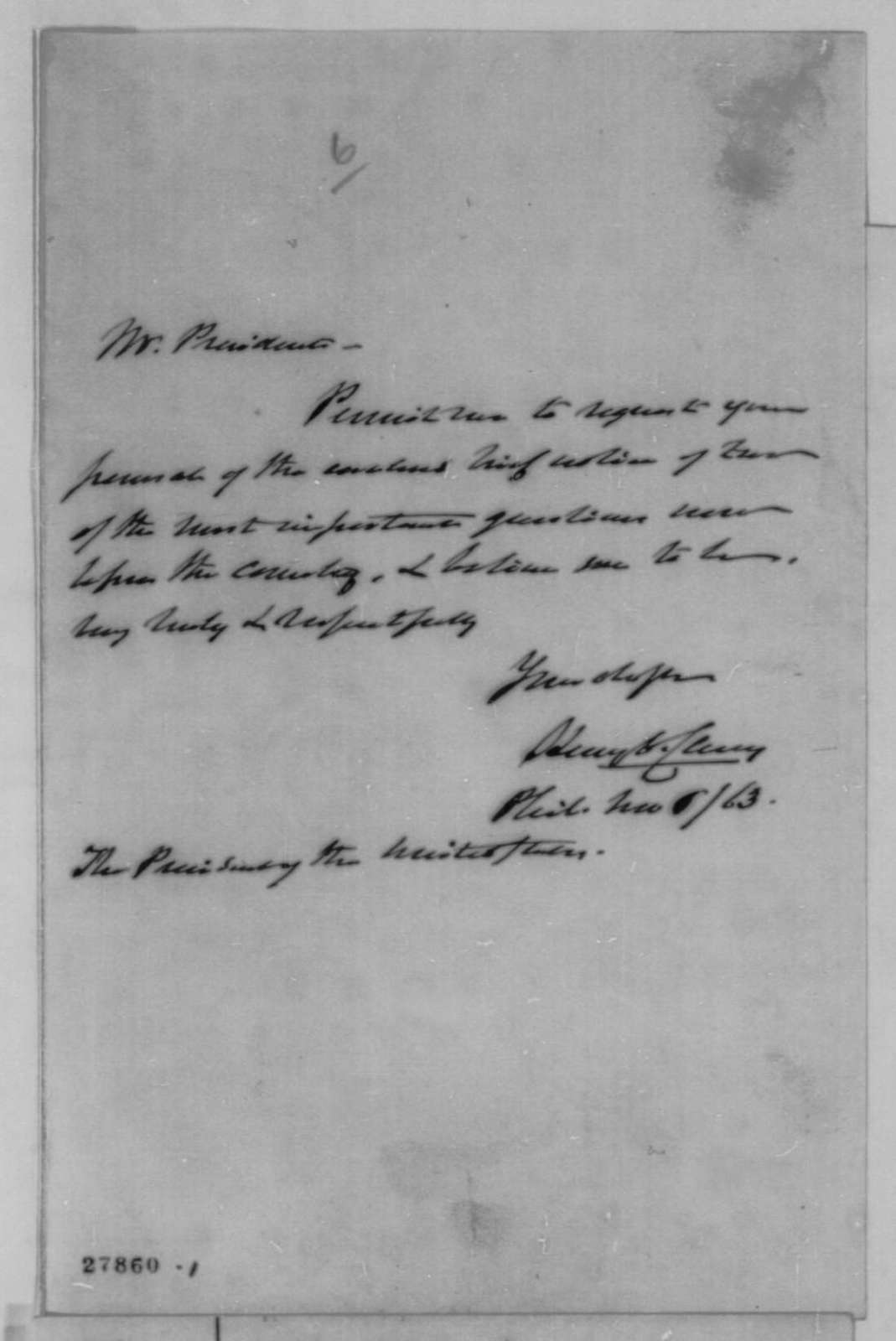 Henry C. Carey to Abraham Lincoln, Friday, November 06, 1863  (Cover letter)