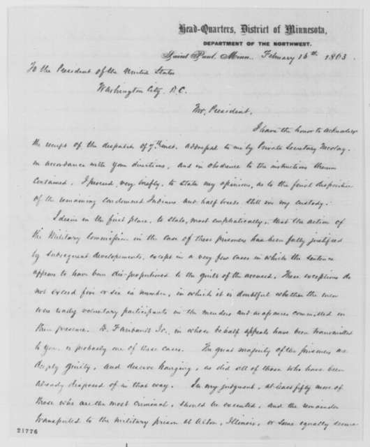 Henry H. Sibley to Abraham Lincoln, Monday, February 16, 1863  (Disposition of remaining Sioux prisoners who participated in 1862 uprising)