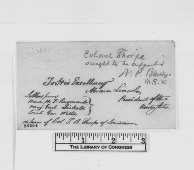 Henry J. Raymond to Abraham Lincoln, Tuesday, June 16, 1863  (Recommendation for T.B. Thorpe; endorsed by Nathaniel P. Banks)