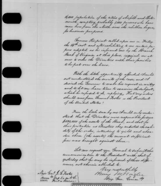 Henry M. Naglee to John G. Foster, Sunday, August 16, 1863  (Affairs at Portsmouth)