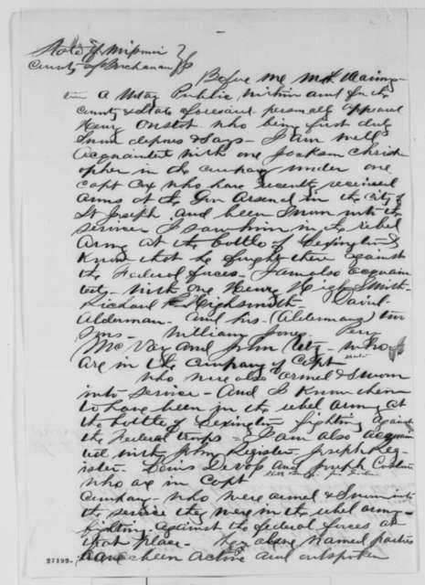 Henry Onstot, Monday, October 12, 1863  (Affidavit concerning military affairs in Missouri)