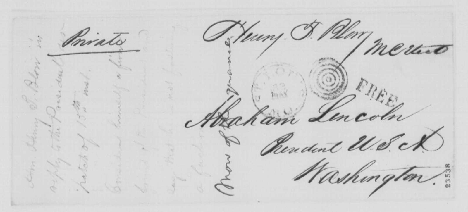 Henry T. Blow to Abraham Lincoln, Monday, May 18, 1863  (Response to Lincoln's May 15 telegram)